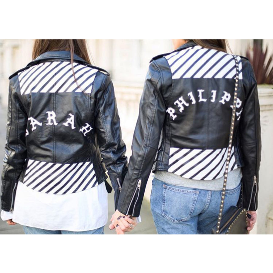 Stripes Name Leather Jacket