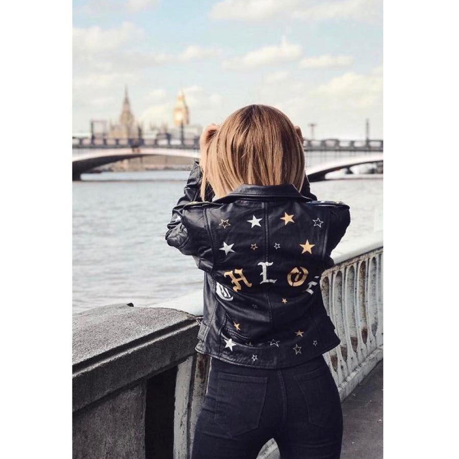 Stars Name Leather Jacket