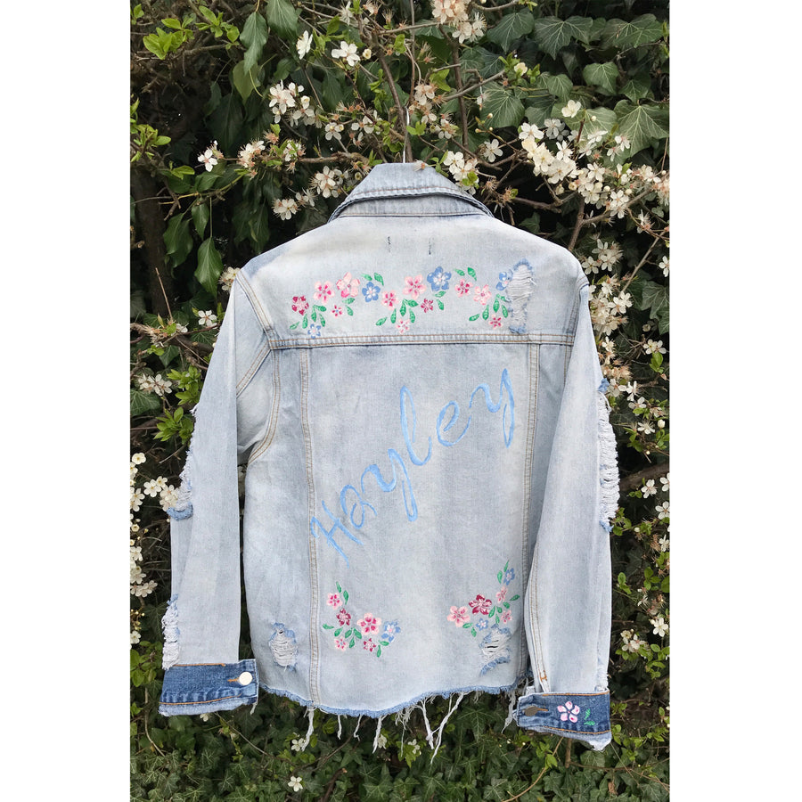 Spring Flower Name Denim Jacket