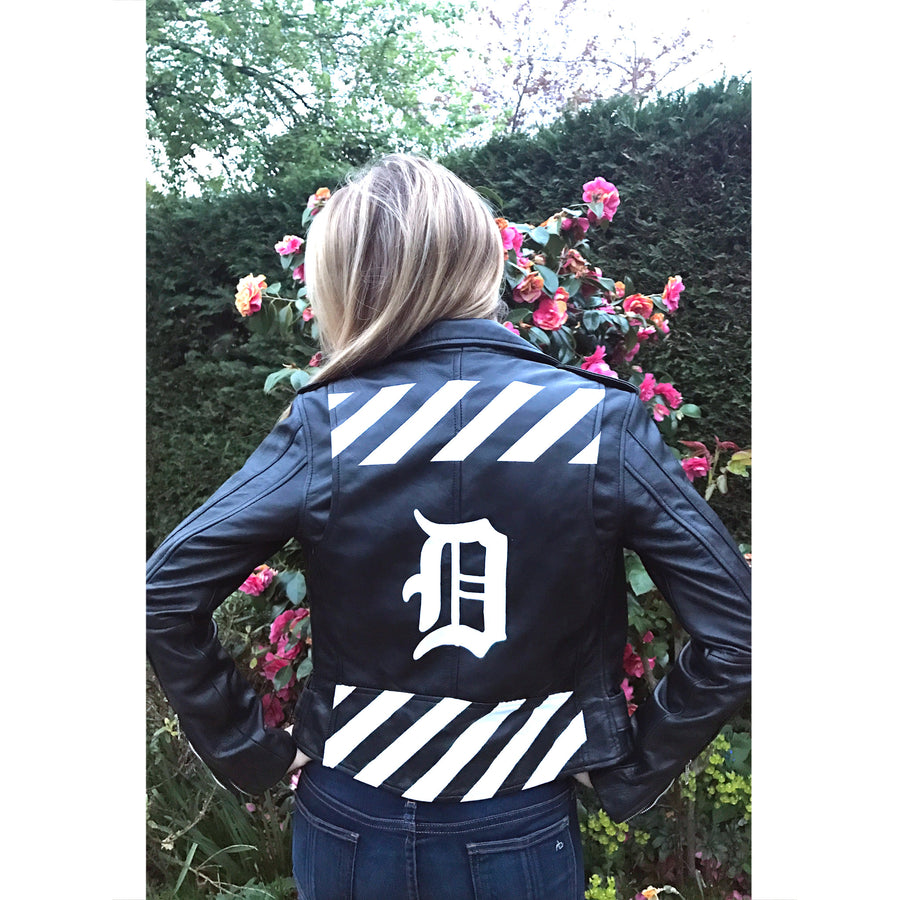 Stripes Initial Leather Jacket