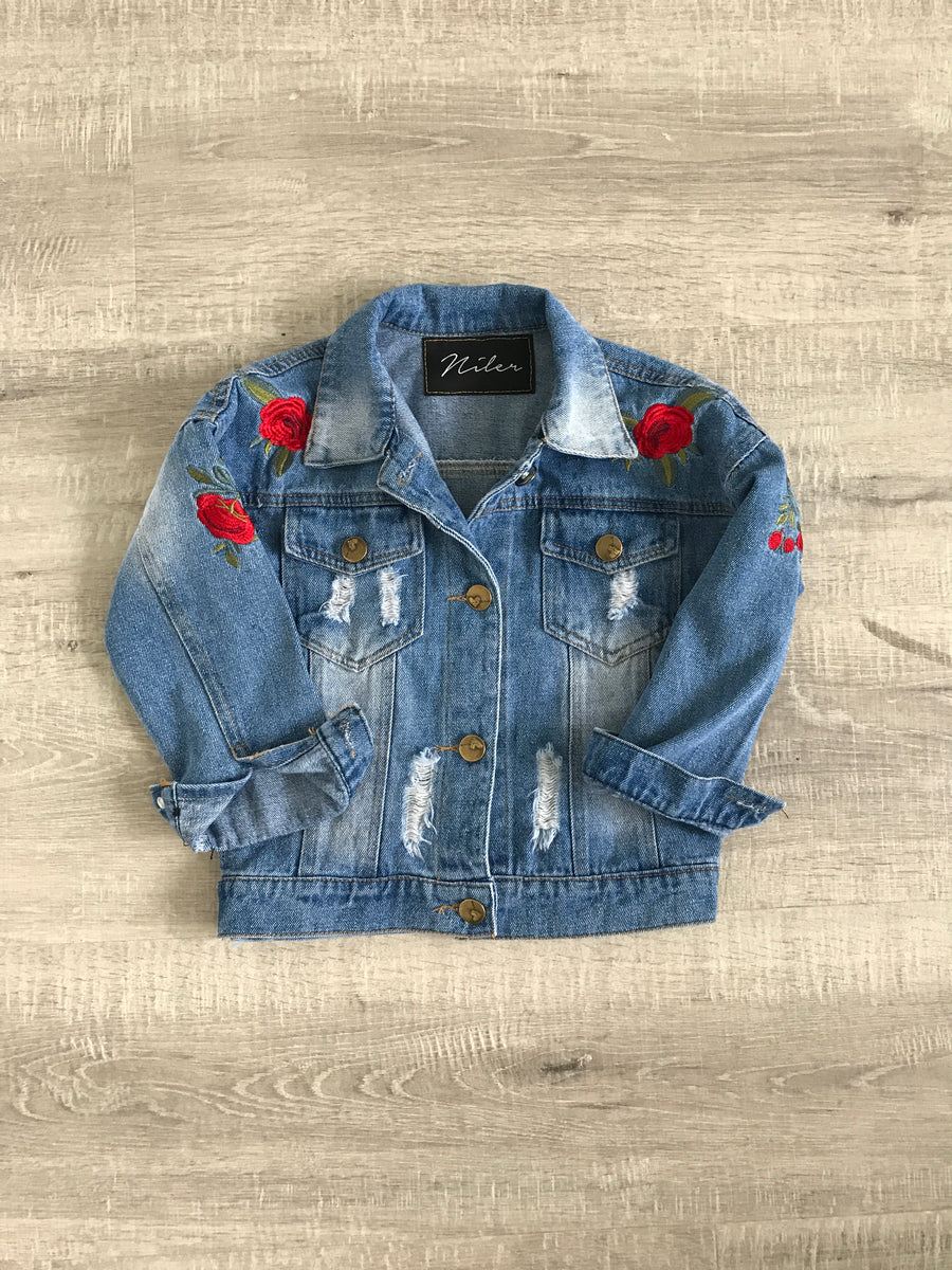 Rose Embroidery  Name Kids Denim