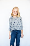 girls hoody, young girls hoody, tween hoody, tween boutique, teen boutique, teen girls boutique, Dallas boutique, starry, stary print, navy star print