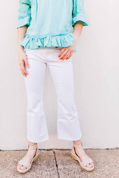 Crop Flare White Jeans
