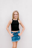 Mini Rib Crop Top with Side Taping/Print