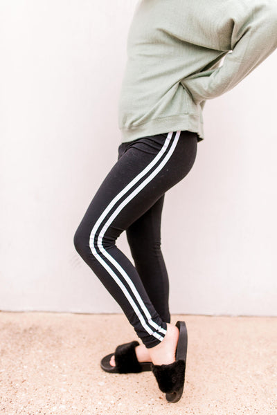 High Waist Brushed Leggings with Side Tape