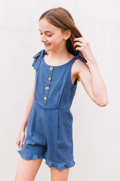 girls' romper, tween romper, tween boutique, tie strap romper, Dallas boutique