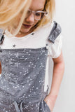 Washed French Terry Star Print Short Overalls