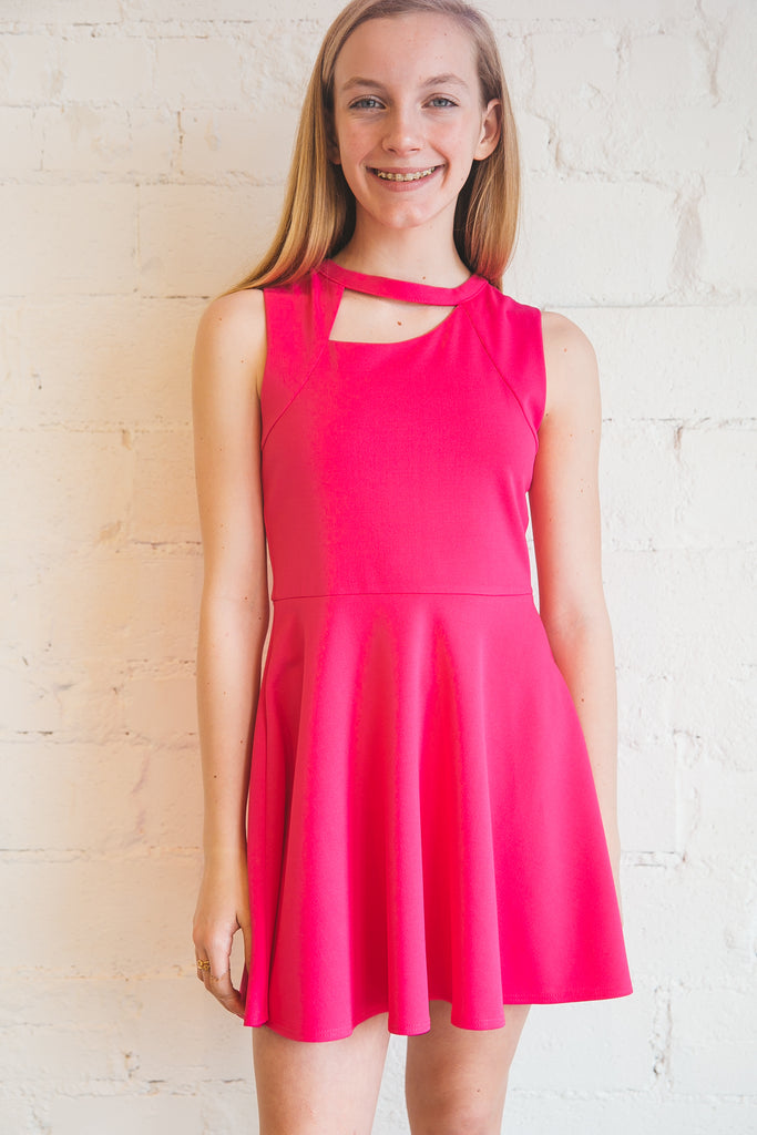 pink dress, tween dress, strap front dress, asymmetrical neck cutout, neck cutout dress, Dallas boutique, tween boutique, zofi boutique