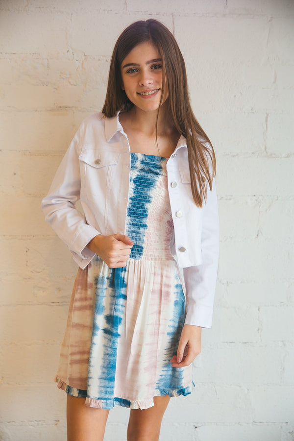 white denim jacket, denim jacket, vintage havana kids, vintage havana kids jacket, top, tween jacket, tween clothing, girls clothing, tops, dallas boutique, dallas girls boutique, dallas tween boutique