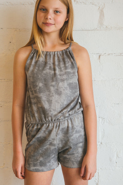 romper, rompers, rompers & jumpsuits, jumpsuits, tie, drawstring, Dallas boutique, girl's boutique, tween boutique, zofi boutique, sage, silver, grey, heather grey
