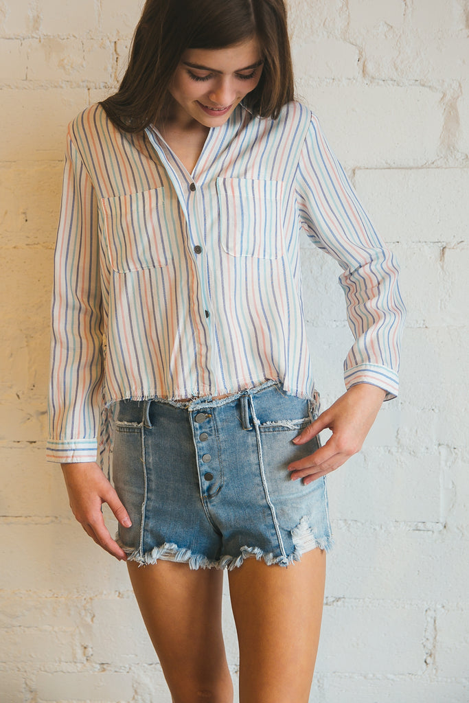 top, tops, tween, popsicle stripe, vertical stripe, Dallas boutique, long sleeve, longsleeve, button down top, button front top
