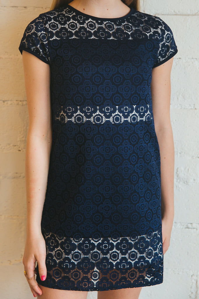 Janet dress, girl's dress, tween dress, teen girl's dress, teen dress, navy blue dress, navy combo dress, lace dress, crochet dress, Dallas boutique, tween boutique, girl's boutique