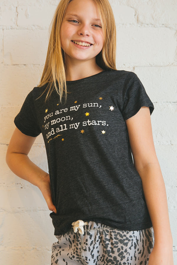 tee, t-shirt, tshirt, girls', tween, tween's, tween boutique, vintage black, charcoal, you are my sun, basic tee, graphic tee