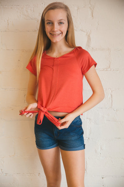 top, tops, tween, girl's, tie waist, waist tie, watermelon, teal, short sleeve, basic tee, Dallas boutique, tween boutique, girl's boutique