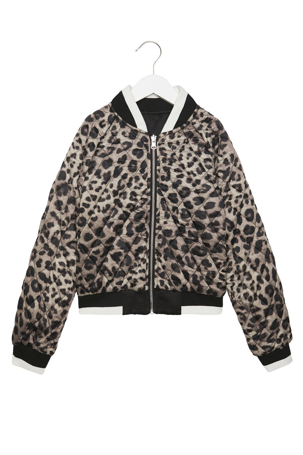 spiritual gangster, spiritual gangster kids, spiritual gangster jacket, jackets, youth, tween, young girls', young ladies', young women's, can't stop won't stop, spiritual gangster, black jacket, Amberella, Amberella X SG Can't Stop Kids Jacket, reversible, leopard, leopard print