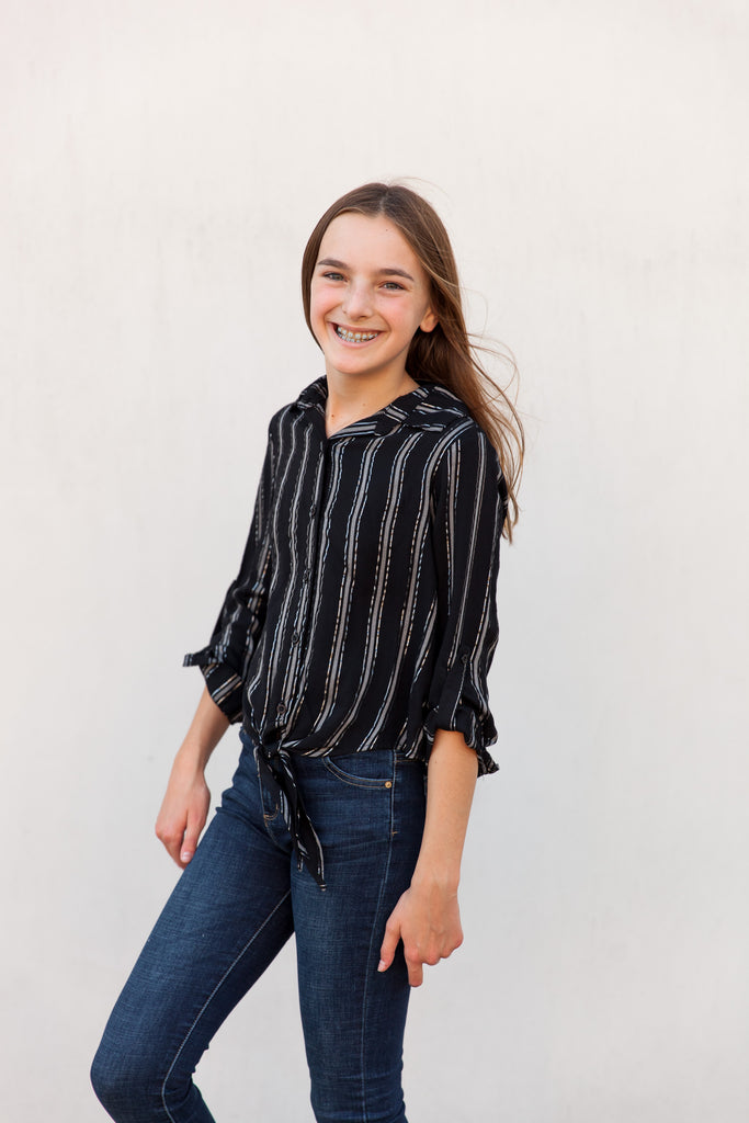 stripe top, vertical stripe top, button down top, longsleeve top, long sleeve top, black and silver stripe top, button up top, tween, teen, young women's top, young woman's top, young ladies top