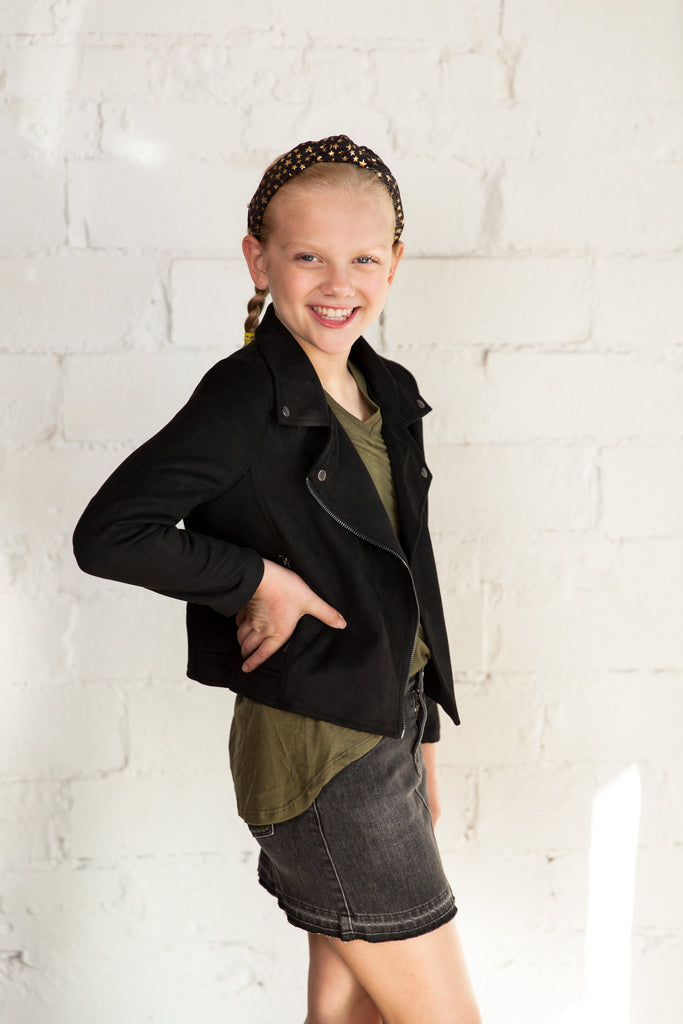 girls jacket, black jacket, suede jacket, zipper jacket, biker jacket, asymmetrical jacket, faux suede, Dallas boutique, tween boutique, girl's boutique, little girl's boutique