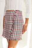plaid mini skirt, french mini skirt, fray detail, plaid, checker, red checker, blue checker, asymmetrical, Dallas boutique, tween boutique, tween skirt