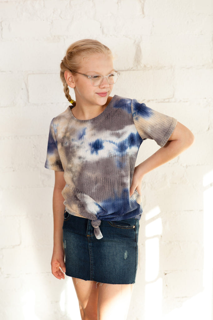 tween top, waffle knit top, waffle knit, waffle, tween boutique, tops, top, tie dye top, tie dye, new top, new, Dallas boutique, clothing, little girl's boutique, young ladies' boutique, young women's boutique