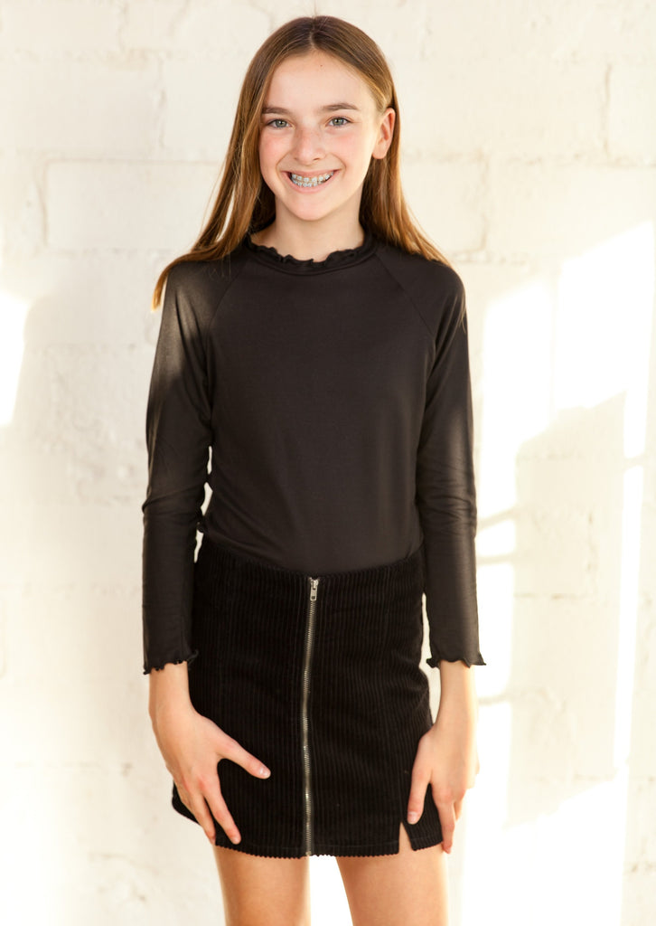 girls top, tween top, young girl's top, longsleeve top, gathered detail top, gathered hem top, ruffle sleeve top, ruffle detail top, black top, mock neck top, Dallas boutique, tween boutique, zofi boutique