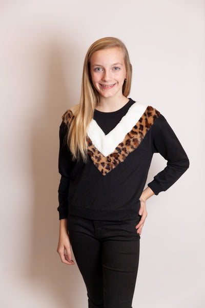 Leopard Colorblock Crew Neck Top