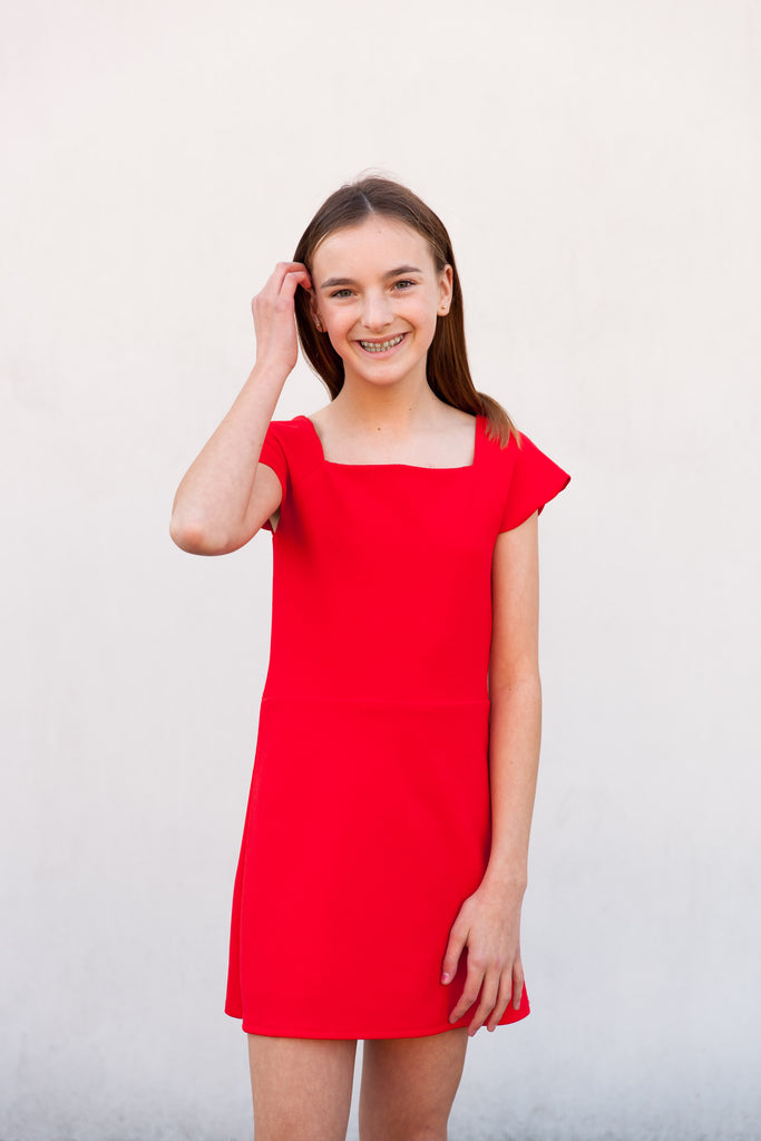 girls dress, tween dress, teen dress, little girl's  dress, red dress, flutter sleeve dress, Dallas boutique, tween boutique, formal dress