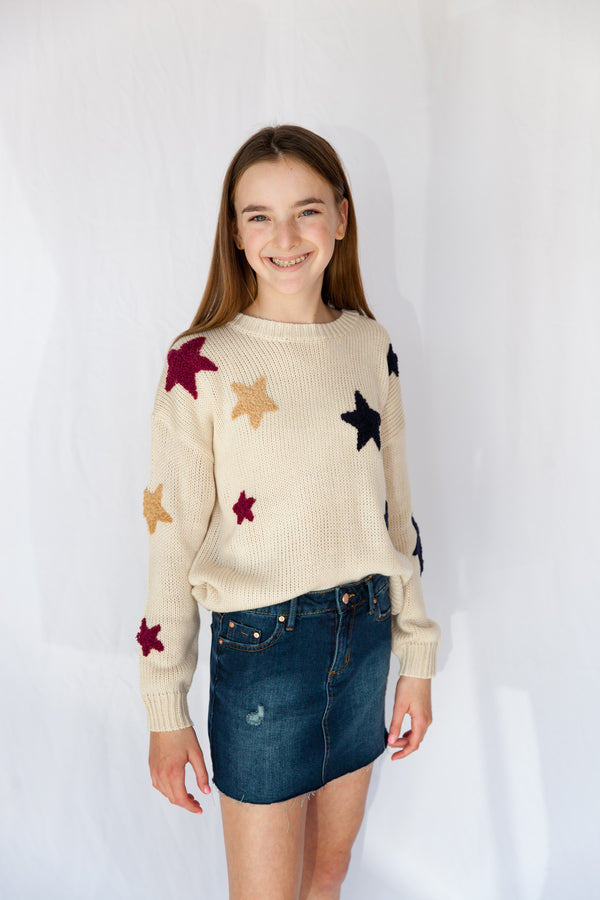 tween top, tween, girl, girls, youth, young women, young ladies, sweater, sweaters, multi star, multi, Dallas boutique, women's boutique, girl's boutique