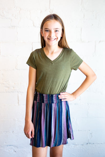 tween top, teen girls top, tween t-shirt, teen girl's t-shirt, Dallas boutique, teen girl's boutique, basic t-shirt, basic tee, olive tee, olive t-shirt