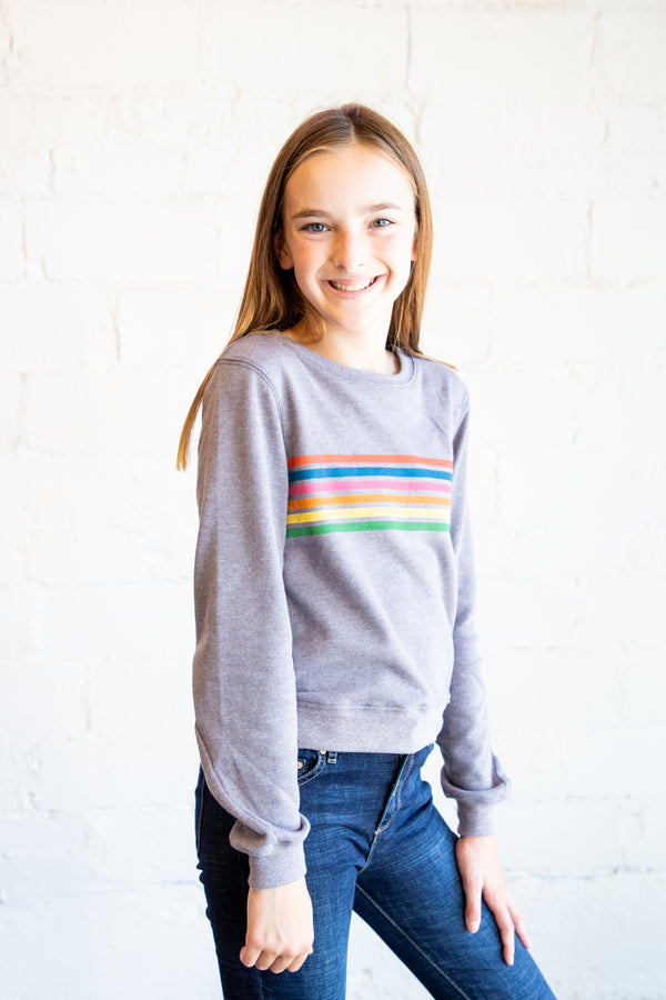 heather grey sweatshirt, girl's sweatshirt, tween sweatshirt, little girl's sweatshirt, rainbow stripe sweatshirt, rainbow stripe, longsleeve, long sleeve, Dallas boutique, tween boutique