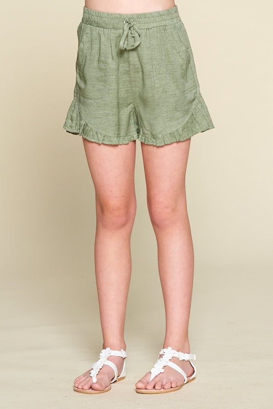 short, shorts, olive green shorts, ruffle them shorts, gathered hem shorts, Dallas boutique, Zofi Boutique, Zofi Boutique Online, Zofi Boutique Dallas