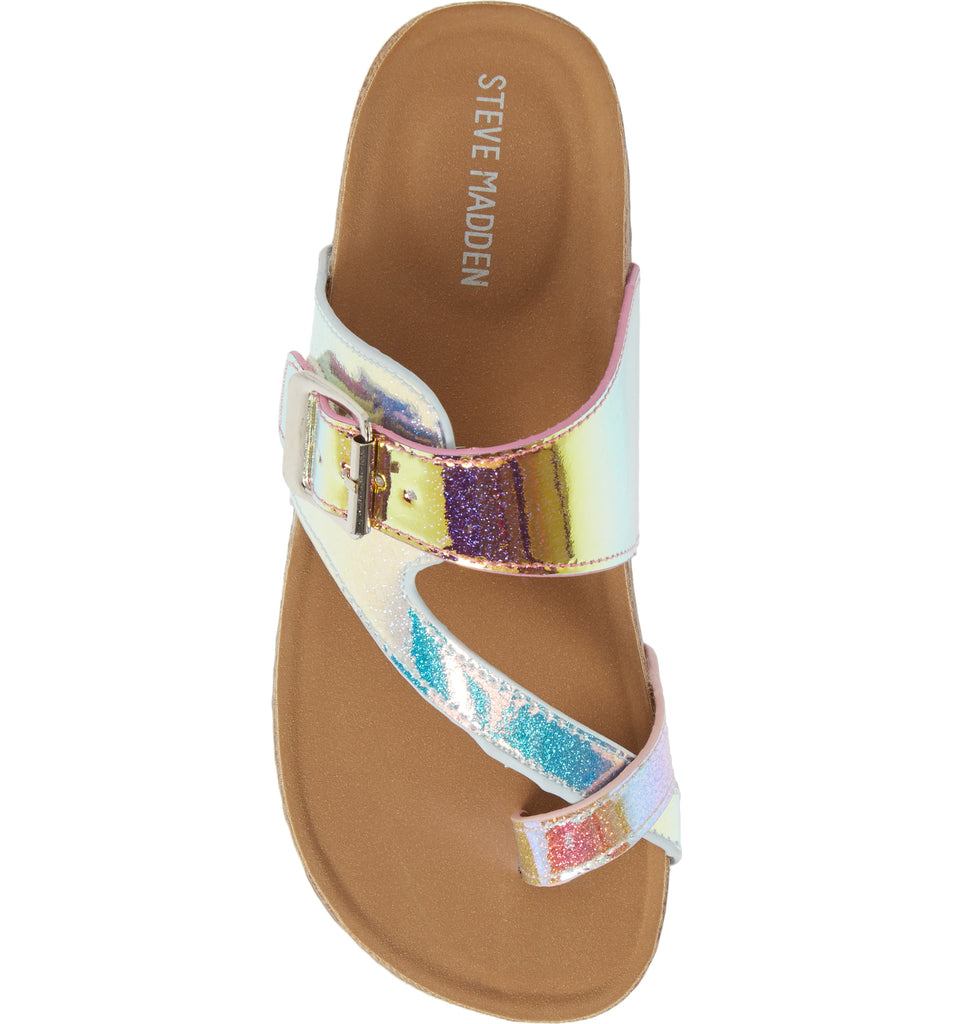 Steve Madden shoes, girls shoes, young girls shoes, tween girls shoes, teen girls shoes, Steve Madden kids, Dallas boutique, girls boutique, tween boutique, teen girls boutique, metallic multi, sandal, Steve Madden sandals