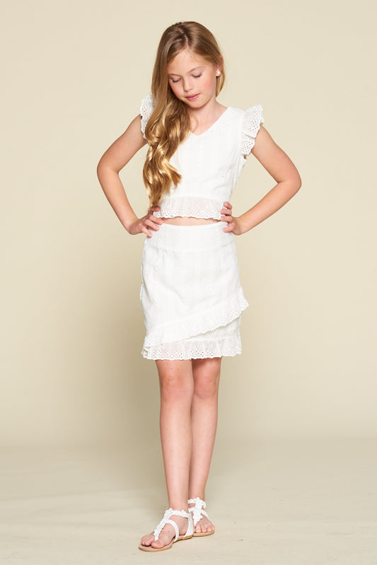 eyelet ruffle skirt, eyelette ruffle skirt, skirt with ruffle, skirt with ruffles, ivory, white, tween girl's skirt, young girl's skirt, young ladies' skirt