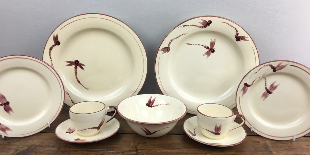 Poole Pottery Dragonfly Burgundy