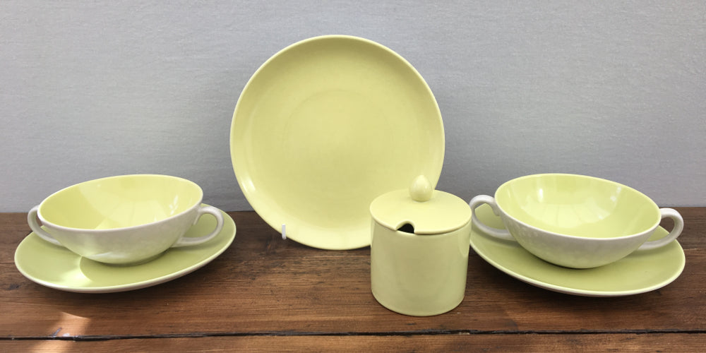 Poole Pottery Twintone Lime Yellow & Seagull C103