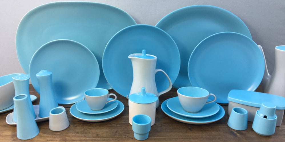 "Poole Pottery ""Twintone - Sky Blue & Dove Grey"""