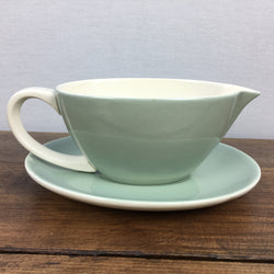 Poole Pottery Celadon Gravy Boat & Stand (Streamline) - White Handle