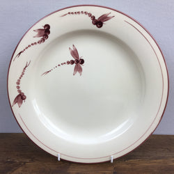 Poole Pottery Dragonfly Burgundy Dinner Plate