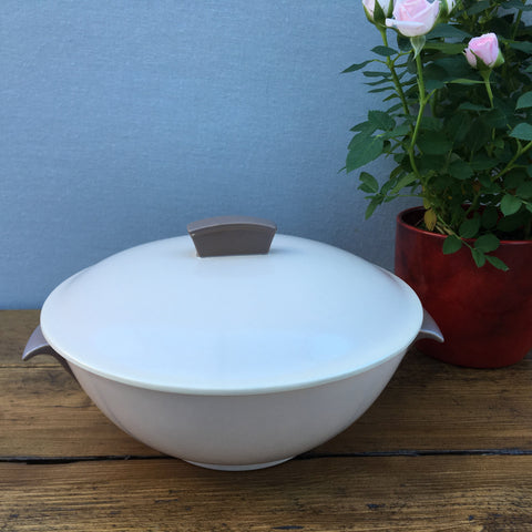 Poole Pottery Sepia & Mushroom Streamline Covered Serving Dish