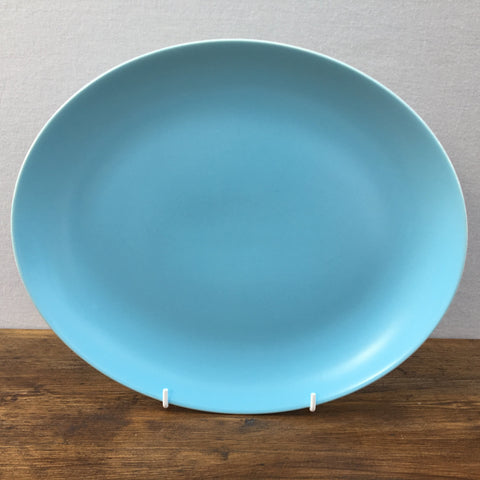 Sky Blue & Dove Grey Oval Steak Plate 11""