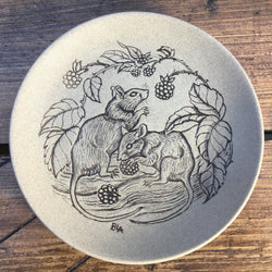 "Poole Pottery Stoneware 5"" Plate - Mice Eating Blackberries"