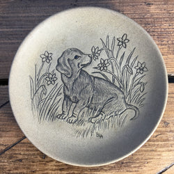 "Poole Pottery Stoneware 5"" Plate - Puppy Dachshund Sniffing Flowers"