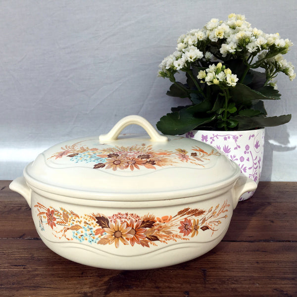 Poole Pottery Summer Glory Covered Veg Dish, Lugged Handles