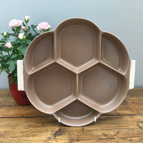 Poole Pottery Twintone Sepia & Mushroom Hors D'oeuvres Tray, Octagonal