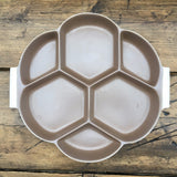 Poole Pottery Mushroom & Sepia Hors D'oeuvres Tray, Octagonal