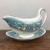 Wedgwood Florentine Turquoise Gravy Boat & Stand