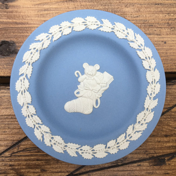 Wedgwood Jasperware Blue Dish - Christmas Stocking