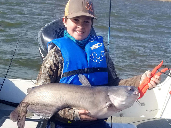 Big Blue Catfish after turkey hunting with heads up turkey decoy