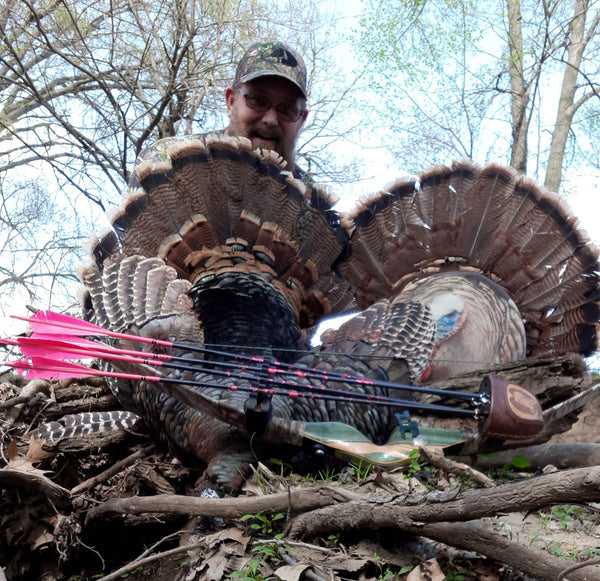 turkey hunting with a trad bow, Heads Up Decoy turkey hunting