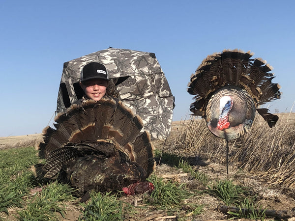 Heads Up Decoy Turkey hunting from a blind