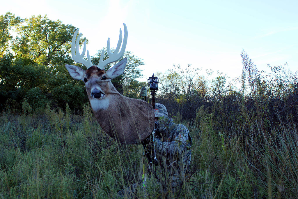 Heads Up Whitetail Buck Decoy in bow mount